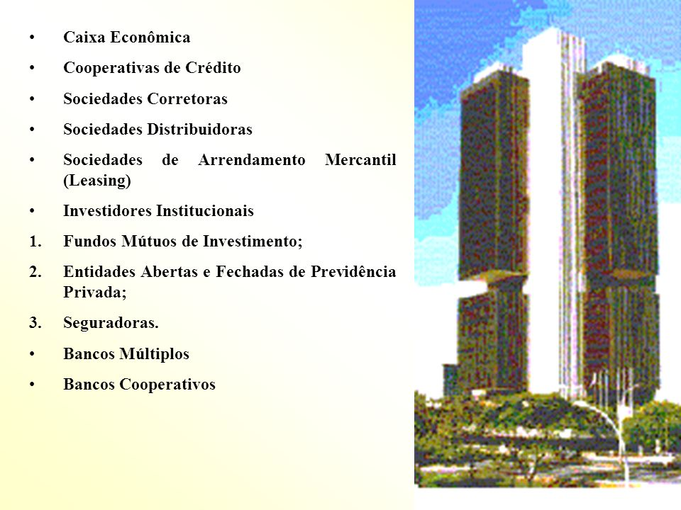 Caixa Econômica Cooperativas de Crédito. Sociedades Corretoras. Sociedades Distribuidoras. Sociedades de Arrendamento Mercantil (Leasing)
