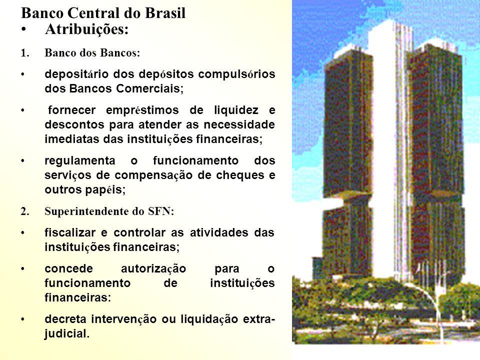 Banco Central do Brasil Atribuições: