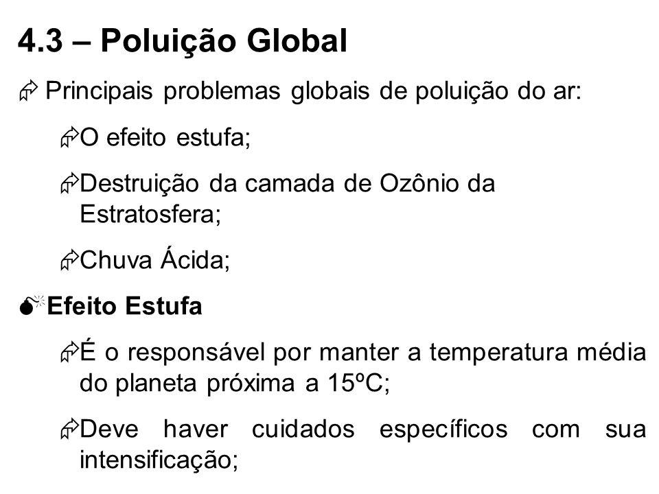 4.3 – Poluição Global Principais problemas globais de poluição do ar: