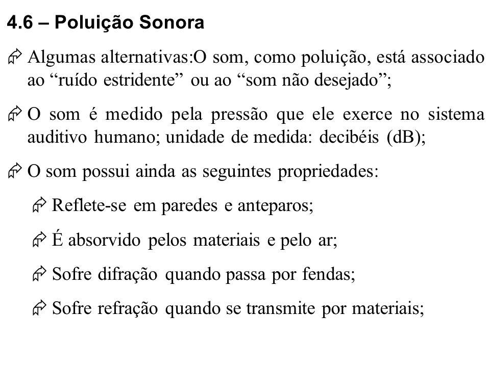 4.6 – Poluição Sonora Algumas alternativas:O som, como poluição, está associado ao ruído estridente ou ao som não desejado ;
