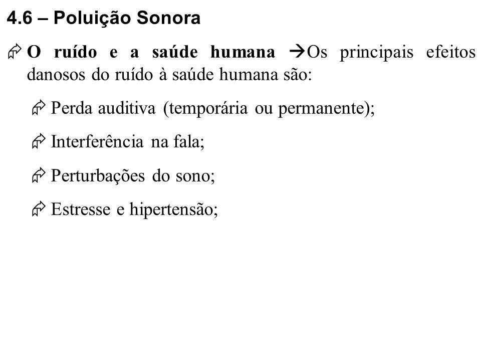 4.6 – Poluição Sonora O ruído e a saúde humana Os principais efeitos danosos do ruído à saúde humana são: