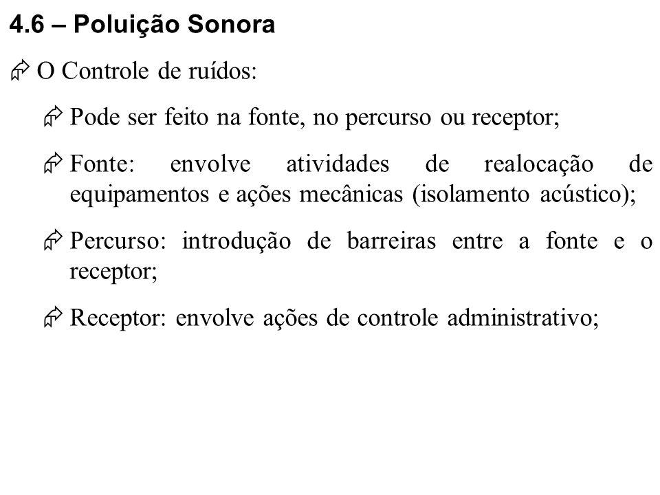 4.6 – Poluição Sonora O Controle de ruídos: Pode ser feito na fonte, no percurso ou receptor;