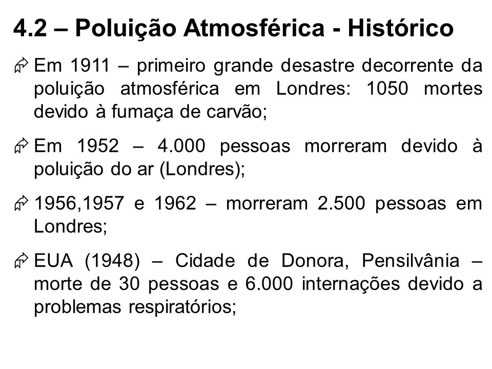 4.2 – Poluição Atmosférica - Histórico