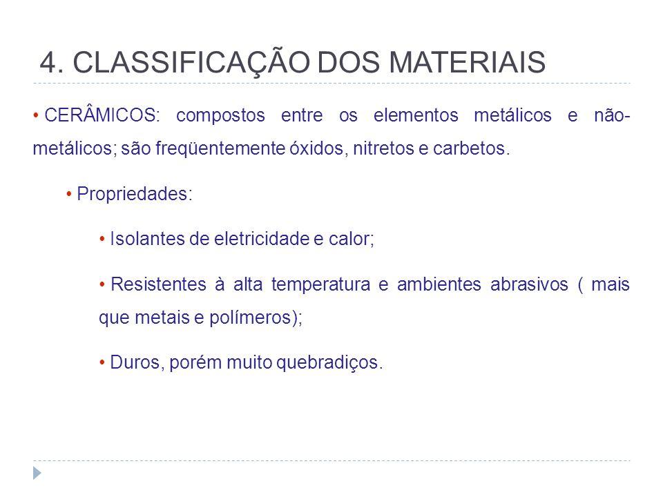 4. CLASSIFICAÇÃO DOS MATERIAIS