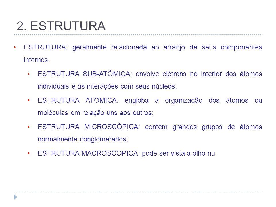2. ESTRUTURA ESTRUTURA: geralmente relacionada ao arranjo de seus componentes internos.