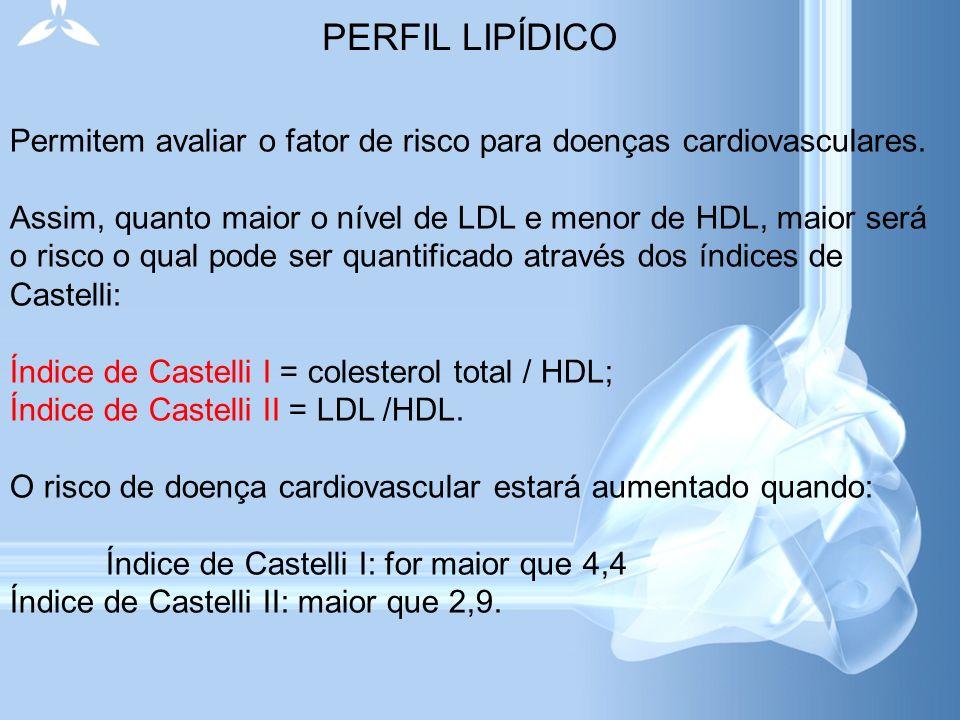 PERFIL LIPÍDICO Permitem avaliar o fator de risco para doenças cardiovasculares.