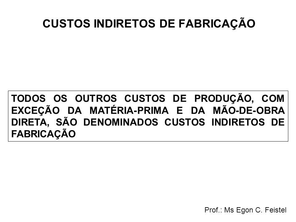 CUSTOS INDIRETOS DE FABRICAÇÃO