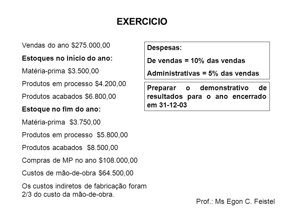 EXERCICIO Vendas do ano $275.000,00 Estoques no início do ano: