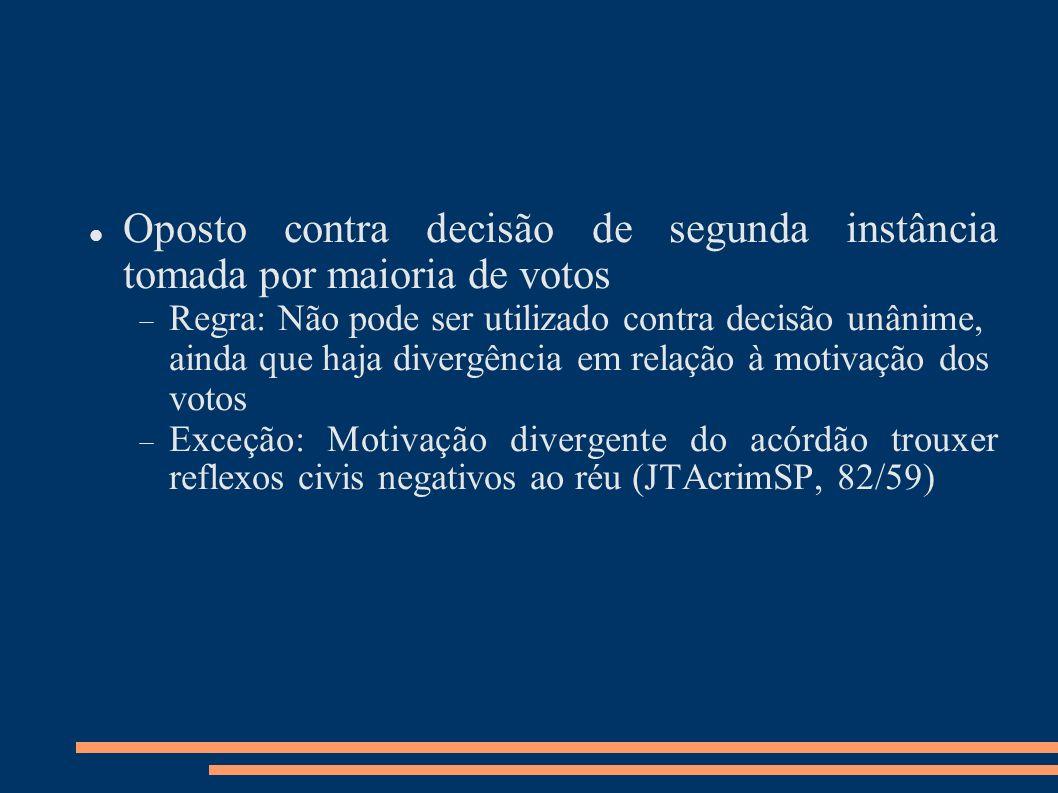 Oposto contra decisão de segunda instância tomada por maioria de votos
