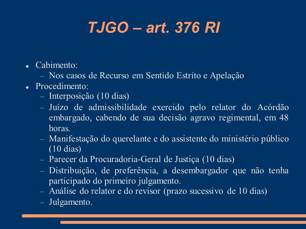 TJGO – art. 376 RI Cabimento: