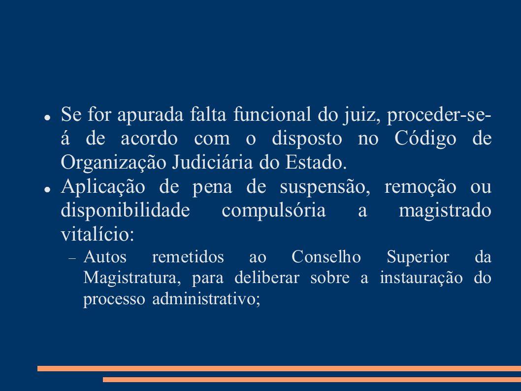 Se for apurada falta funcional do juiz, proceder-se-á de acordo com o disposto no Código de Organização Judiciária do Estado.