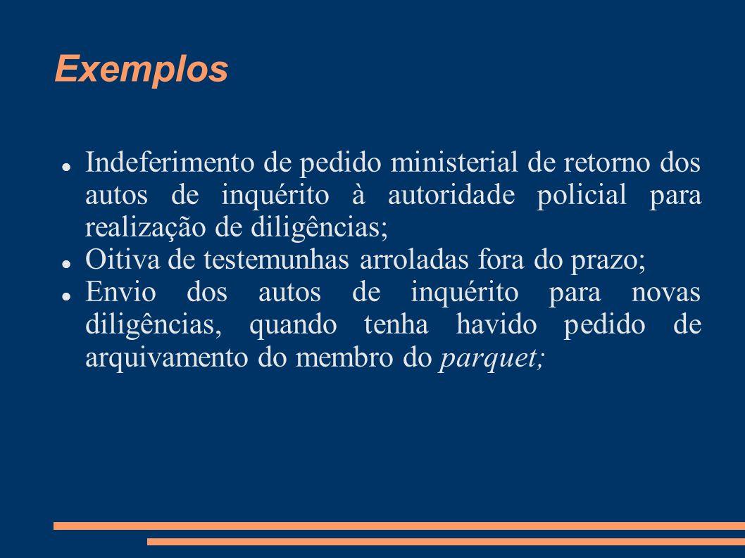 Exemplos Indeferimento de pedido ministerial de retorno dos autos de inquérito à autoridade policial para realização de diligências;