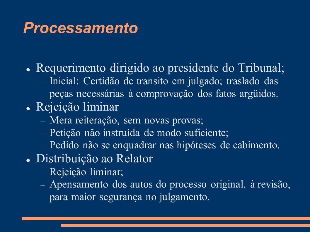 Processamento Requerimento dirigido ao presidente do Tribunal;