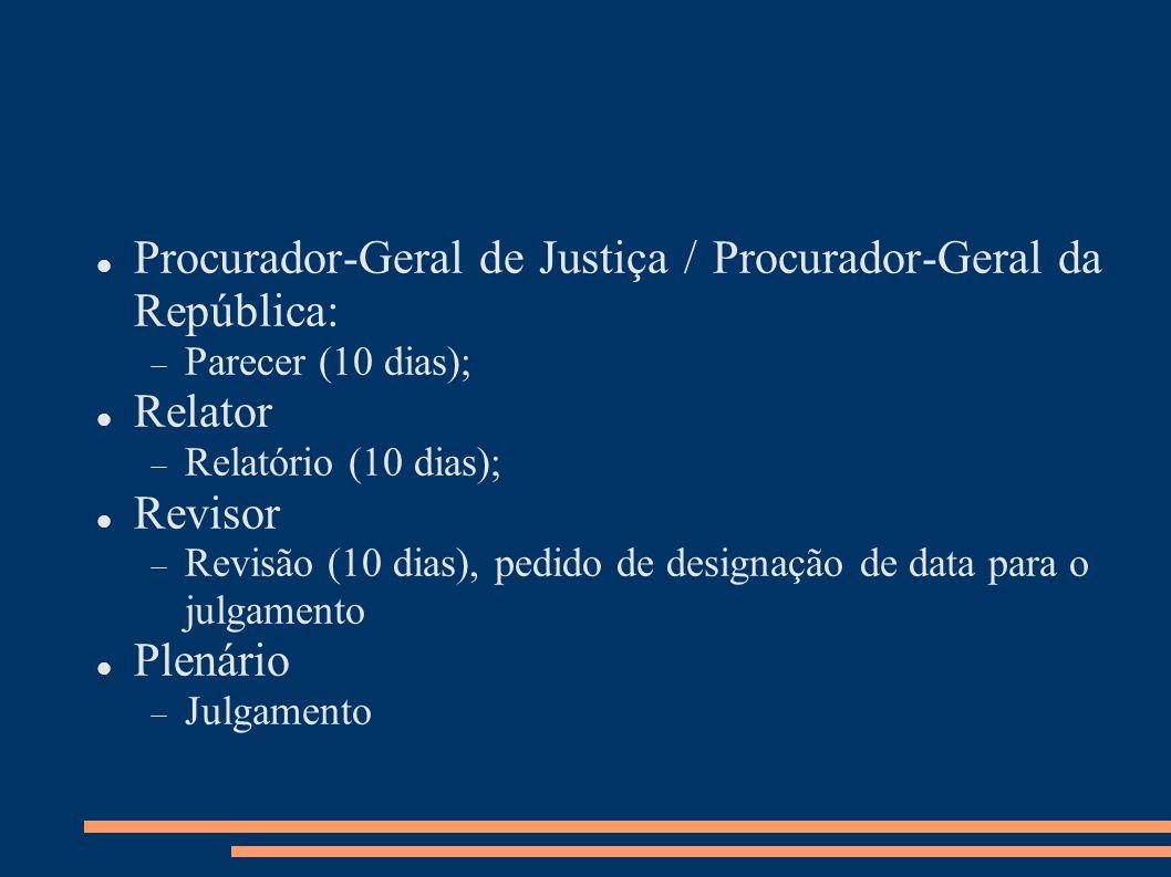 Procurador-Geral de Justiça / Procurador-Geral da República: