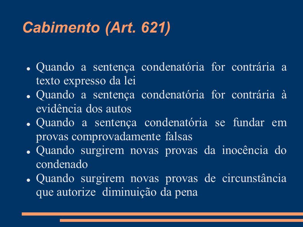 Cabimento (Art. 621) Quando a sentença condenatória for contrária a texto expresso da lei.