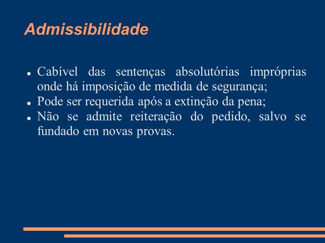 Admissibilidade Cabível das sentenças absolutórias impróprias onde há imposição de medida de segurança;