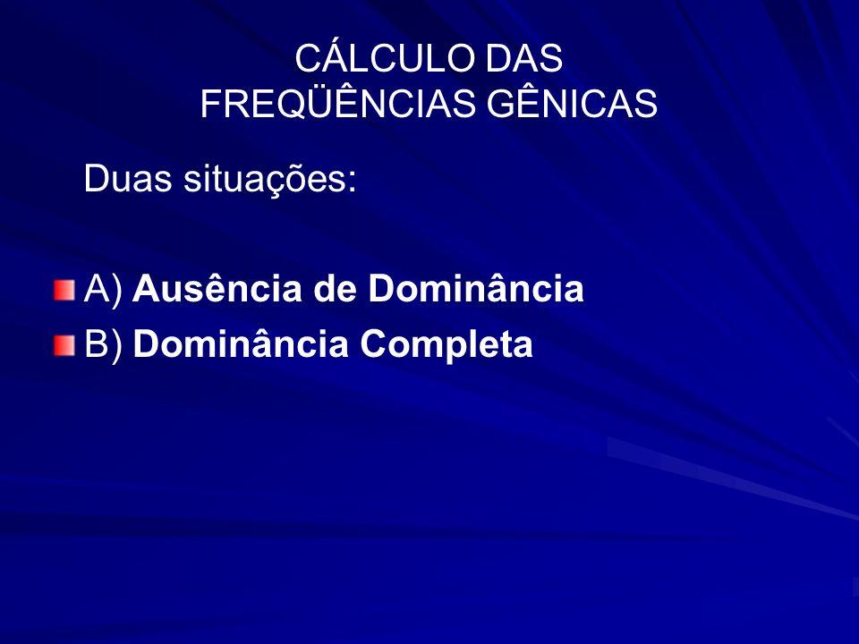 CÁLCULO DAS FREQÜÊNCIAS GÊNICAS