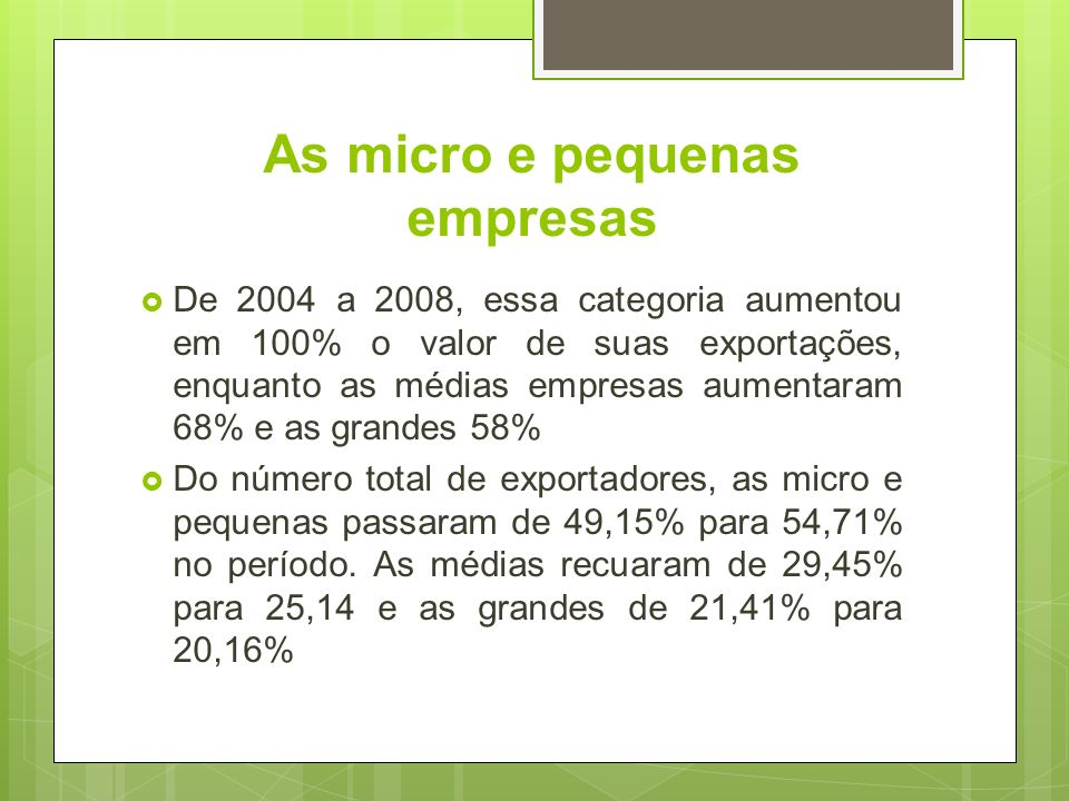 As micro e pequenas empresas