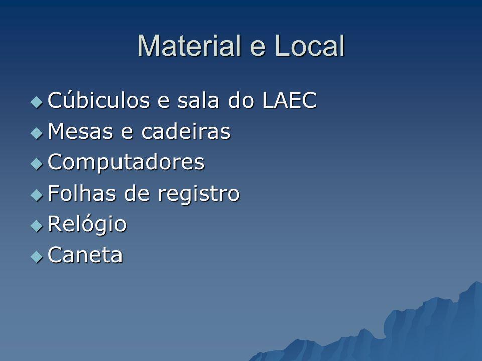 Material e Local Cúbiculos e sala do LAEC Mesas e cadeiras