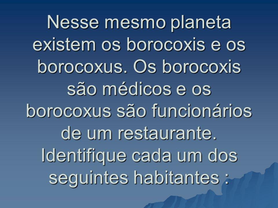 Nesse mesmo planeta existem os borocoxis e os borocoxus