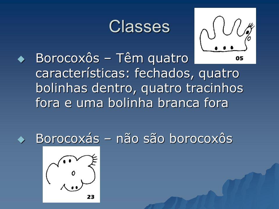 Classes Borocoxôs – Têm quatro características: fechados, quatro bolinhas dentro, quatro tracinhos fora e uma bolinha branca fora.