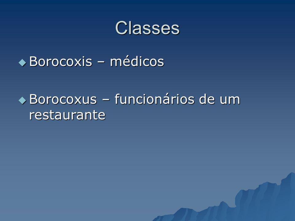 Classes Borocoxis – médicos Borocoxus – funcionários de um restaurante