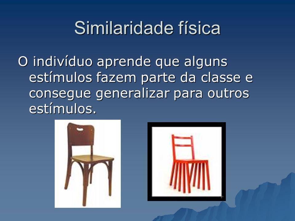 Similaridade física O indivíduo aprende que alguns estímulos fazem parte da classe e consegue generalizar para outros estímulos.