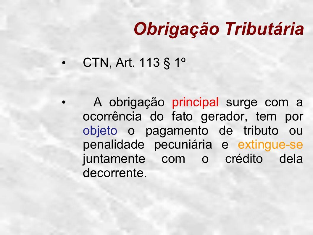 Obrigação Tributária CTN, Art. 113 § 1º