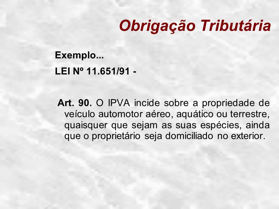 Obrigação Tributária Exemplo... LEI Nº 11.651/91 -
