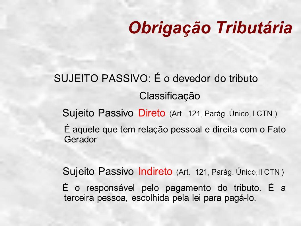 Sujeito Passivo Direto (Art. 121, Parág. Único, I CTN )