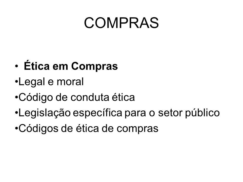 COMPRAS Ética em Compras •Legal e moral •Código de conduta ética