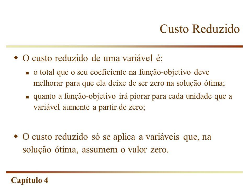 Custo Reduzido O custo reduzido de uma variável é:
