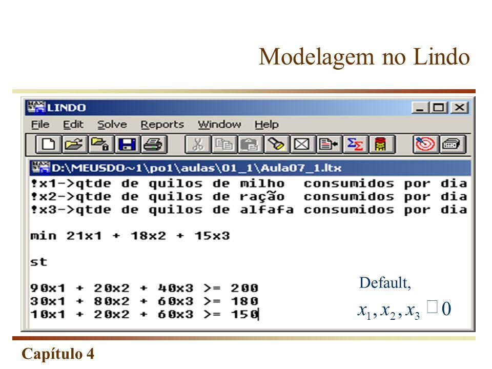 Modelagem no Lindo Default, , 3 2 1 ³ x