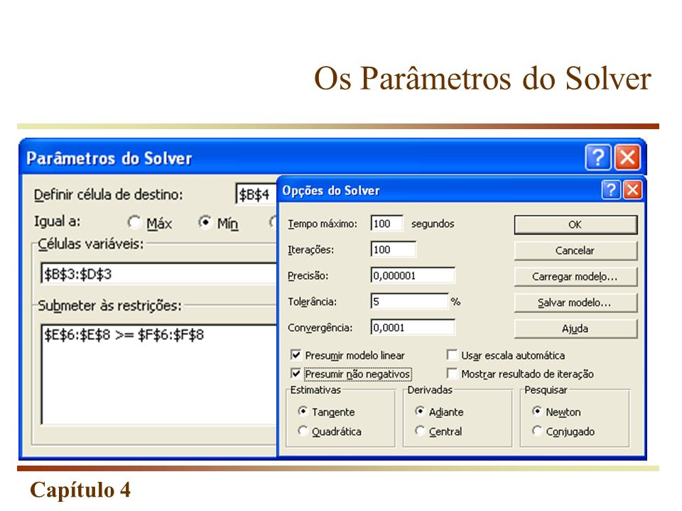 Os Parâmetros do Solver
