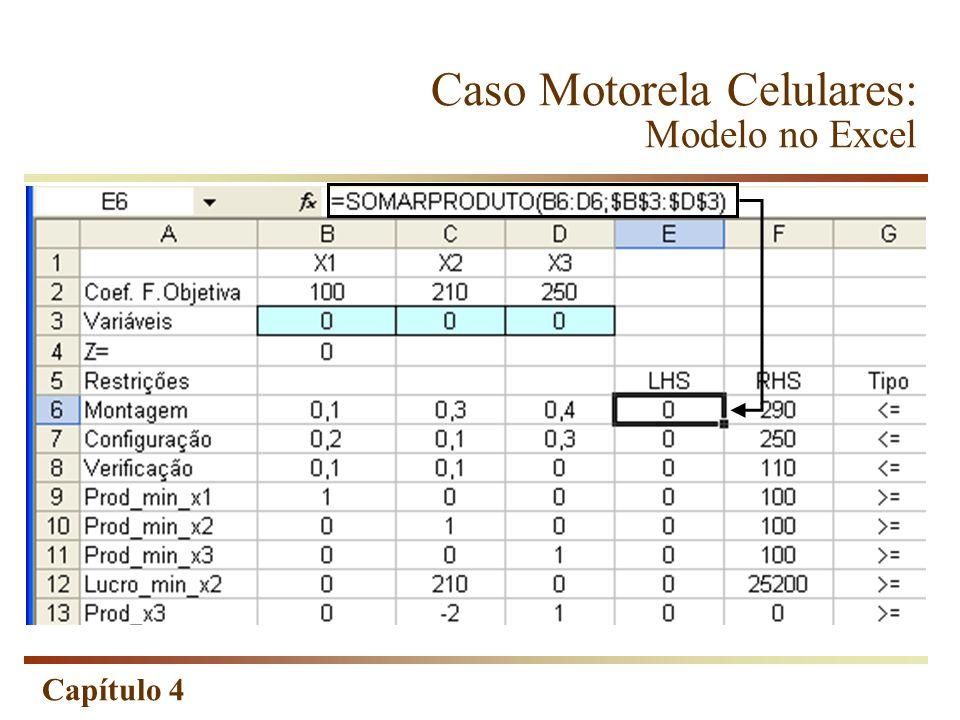 Caso Motorela Celulares: Modelo no Excel