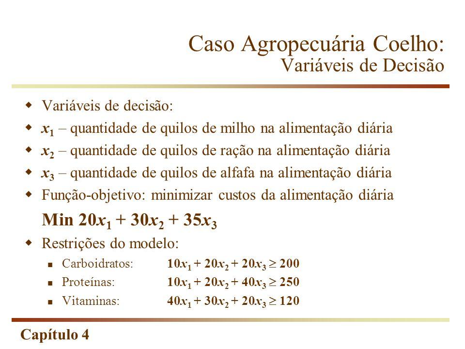 Caso Agropecuária Coelho: Variáveis de Decisão