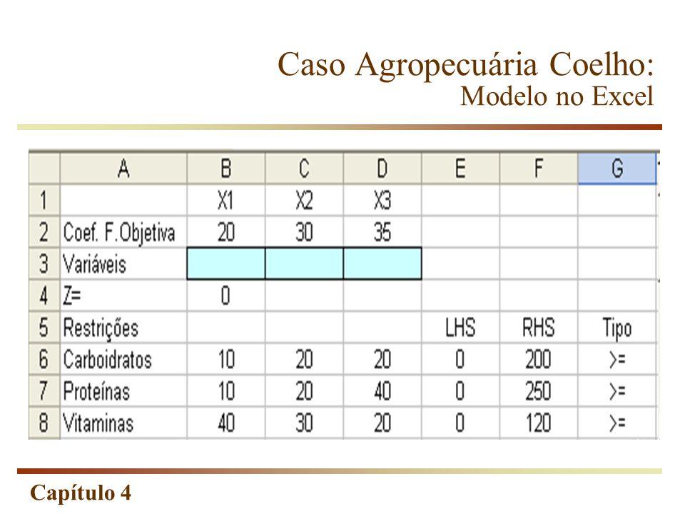 Caso Agropecuária Coelho: Modelo no Excel