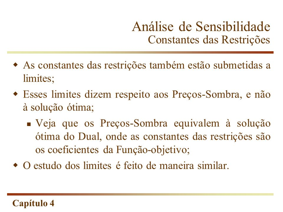 Análise de Sensibilidade Constantes das Restrições