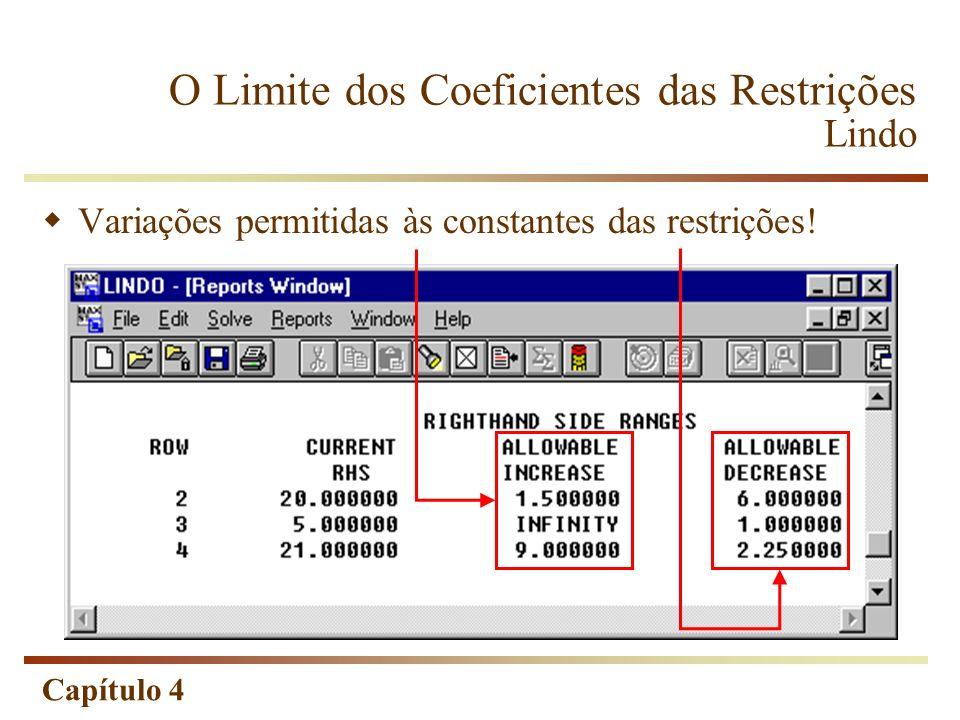 O Limite dos Coeficientes das Restrições Lindo
