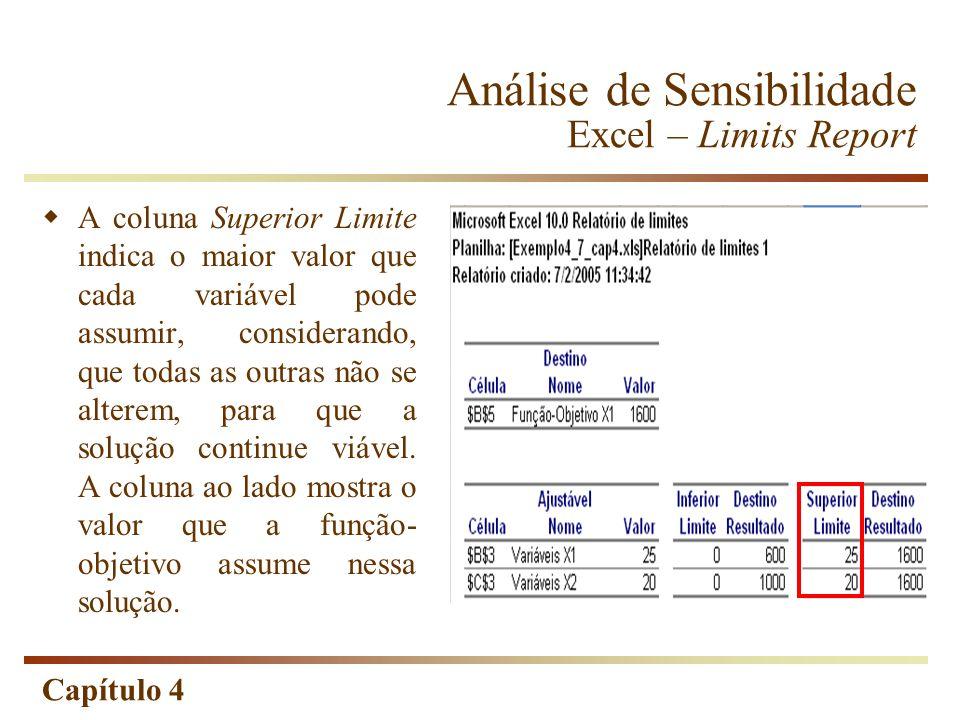 Análise de Sensibilidade Excel – Limits Report