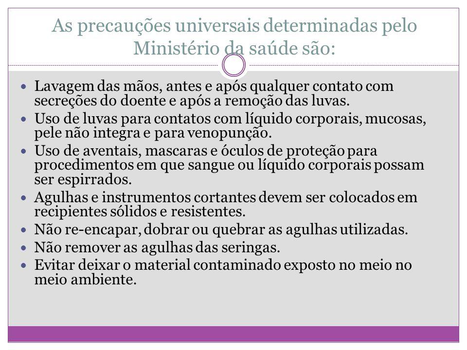 As precauções universais determinadas pelo Ministério da saúde são: