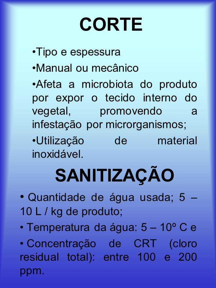 CORTE SANITIZAÇÃO Quantidade de água usada; 5 – 10 L / kg de produto;