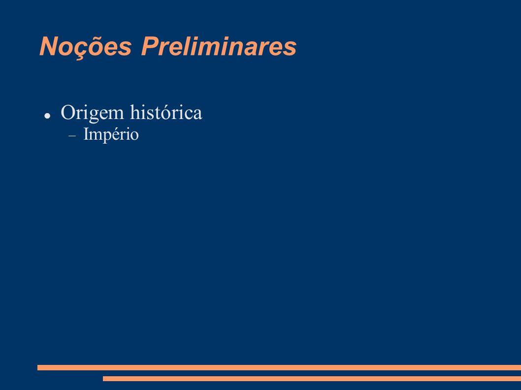 Noções Preliminares Origem histórica Império