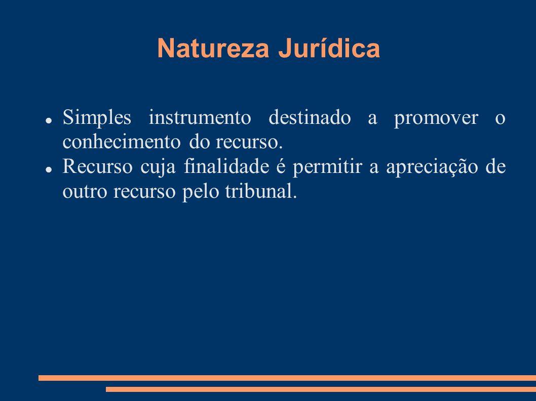 Natureza Jurídica Simples instrumento destinado a promover o conhecimento do recurso.