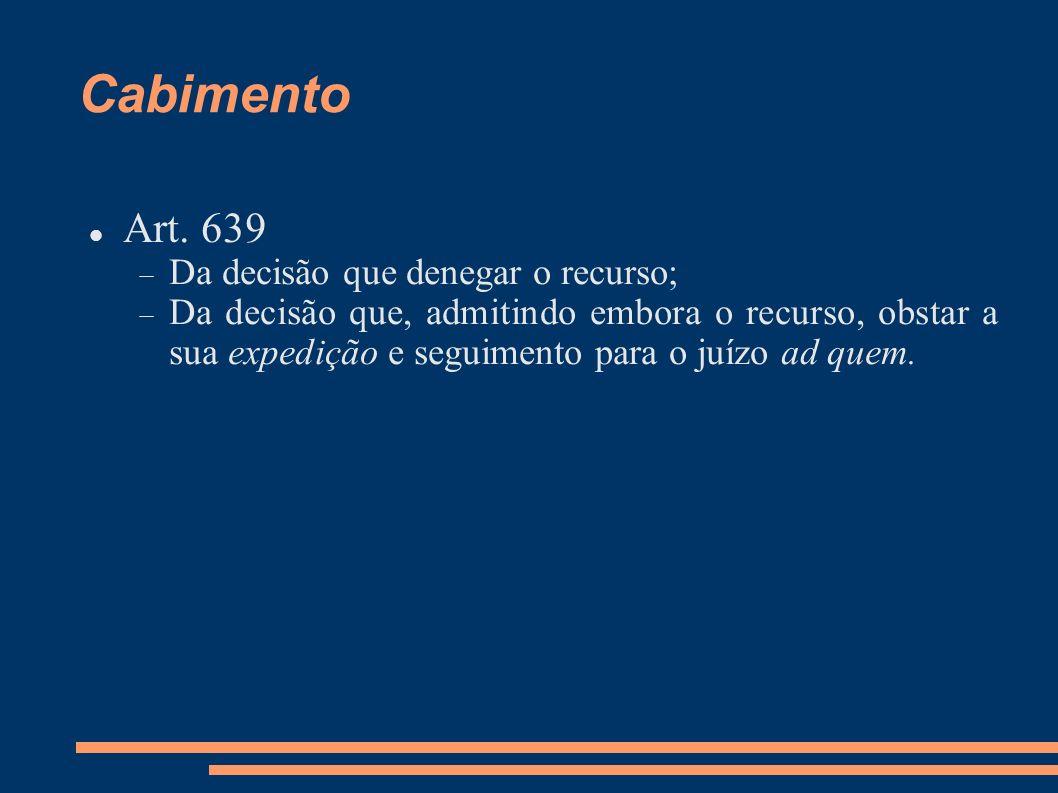 Cabimento Art. 639 Da decisão que denegar o recurso;