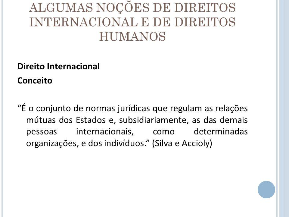 ALGUMAS NOÇÕES DE DIREITOS INTERNACIONAL E DE DIREITOS HUMANOS