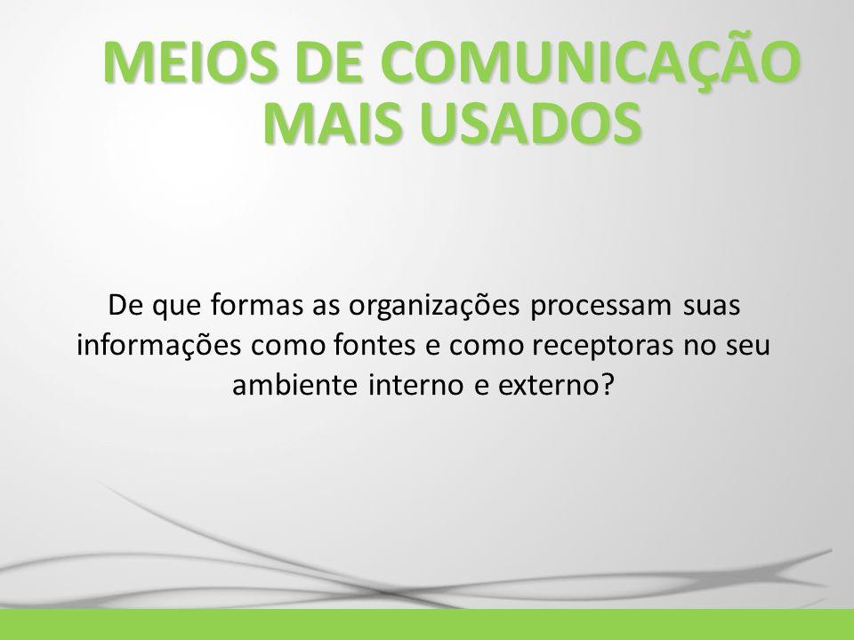 MEIOS DE COMUNICAÇÃO MAIS USADOS