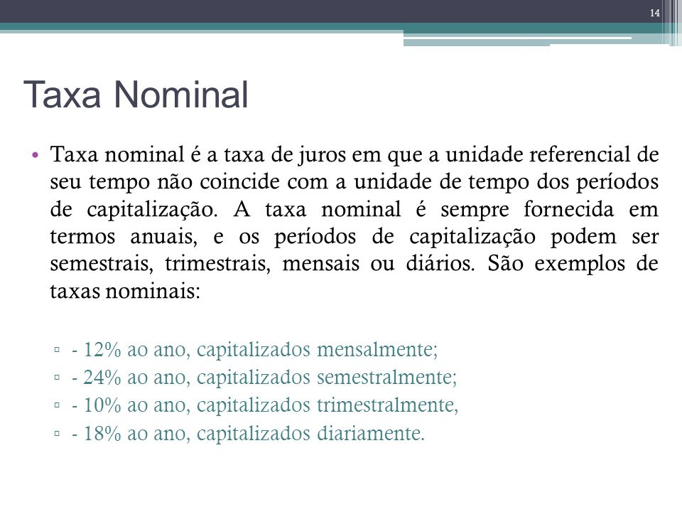 Taxa Nominal