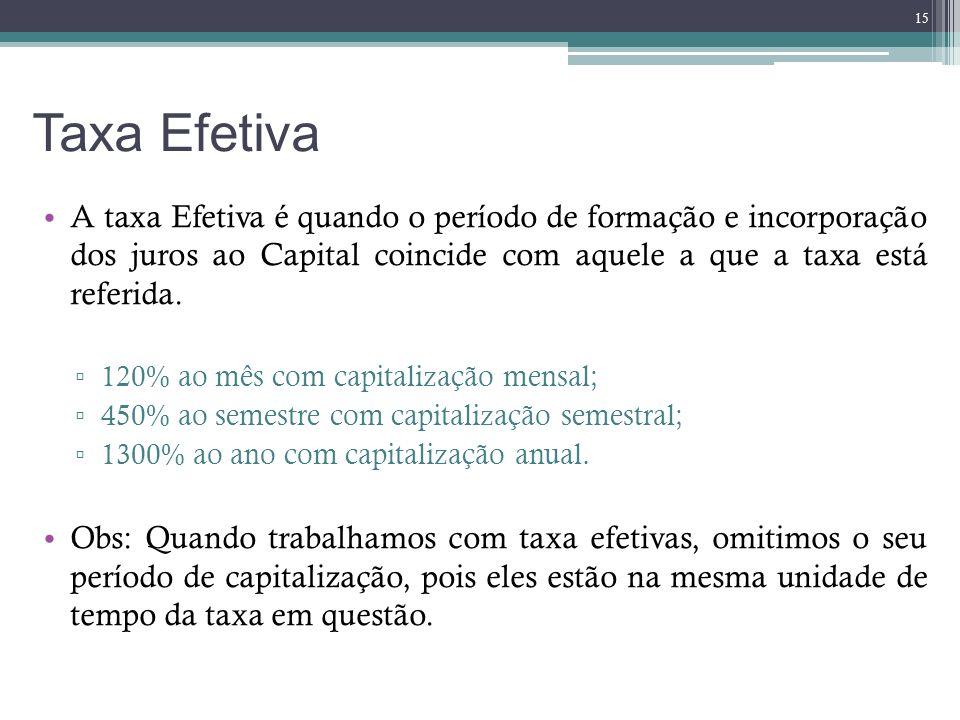 Taxa Efetiva A taxa Efetiva é quando o período de formação e incorporação dos juros ao Capital coincide com aquele a que a taxa está referida.