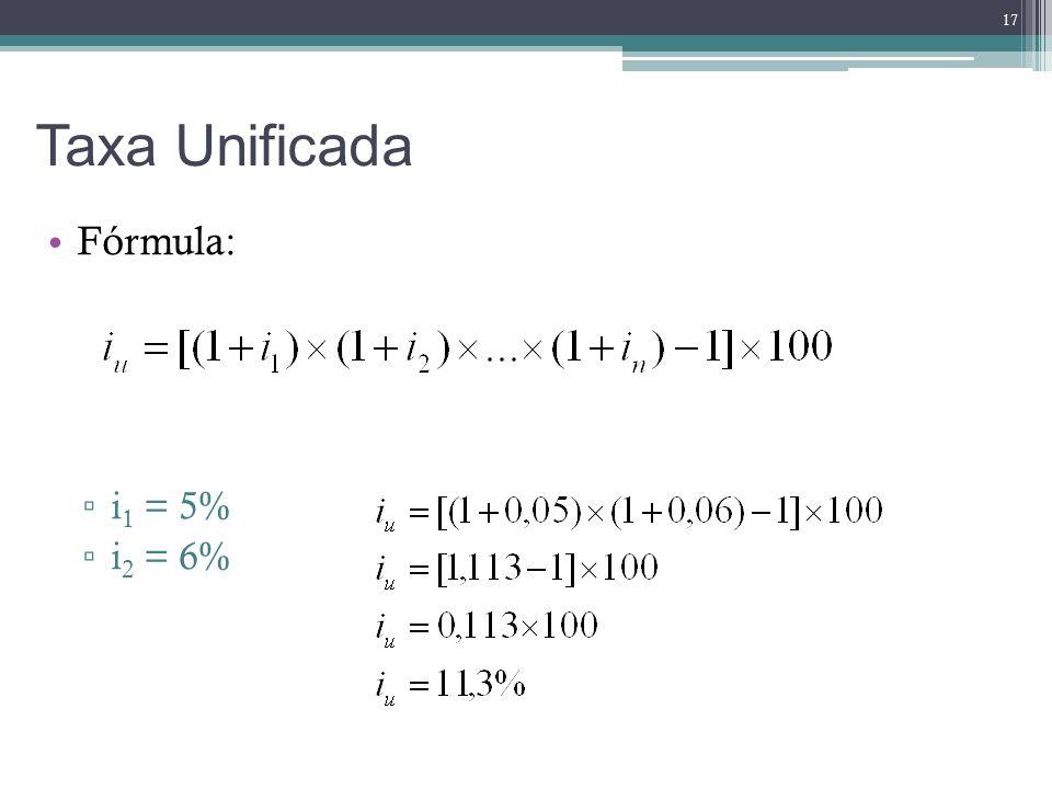 Taxa Unificada Fórmula: i1 = 5% i2 = 6%